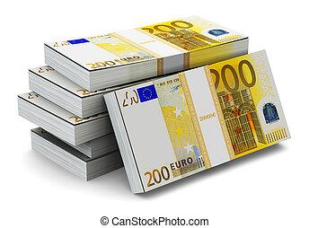 accatastare, di, 200, euro, banconote,