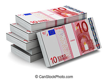 Stacks of 10 Euro banknotes - Creative abstract banking,...
