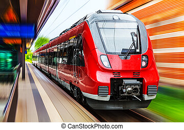 Modern high speed train - Railroad travel and railway...