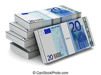 Stacks of 20 Euro banknotes - Creative abstract banking,...