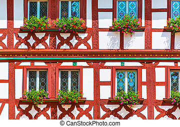 Half-timbered building - Traditional German medieval...