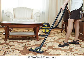 chambermaid at hotel service - Hotel service. female...