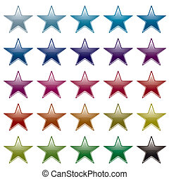 star rainbow variation - Collection of many brightly colored...