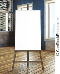 easel with blank canvas in interior 3d render