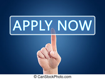 Apply now - Hand pressing Apply now button on interface with...