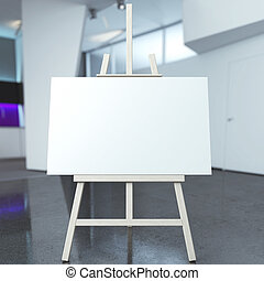 easel with empty canvas in modern interior. 3d render