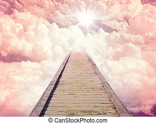 Blue sky with sun and beautiful clouds. Stairs in sky road...