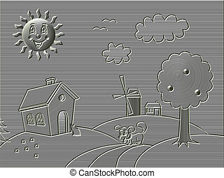 Metal relief landscape with happy sun