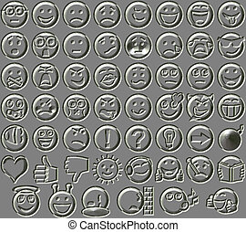 Metal relief 54 smiley emotion icons background