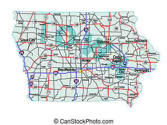 Iowa Interstate Highway Map - Iowa state road map with...