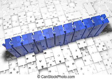Callcenter - puzzle 3d render illustration with block...