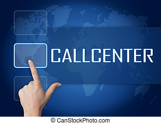 Callcenter concept with interface and world map on blue...