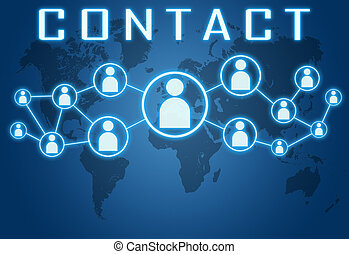 Contact concept on blue background with world map and social...