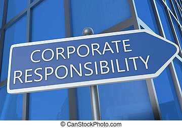 Corporate Responsibility - illustration with street sign in...