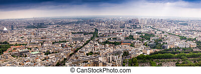 Panoramic view of Paris. Aerial shot