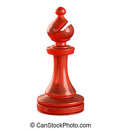 Bishop Chess Piece - Red glass chess piece isolated....