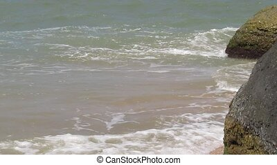 Green sea waves. An abstract seascape with blurred panning...