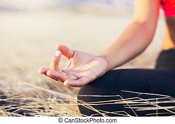 yoga, mujer, meditación