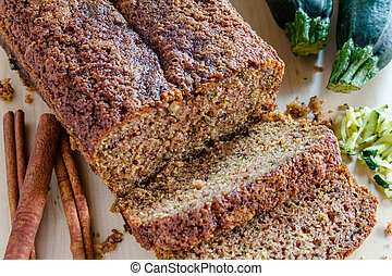 Fresh Baked Zucchini and Cinnamon Bread - Close up of loaf...