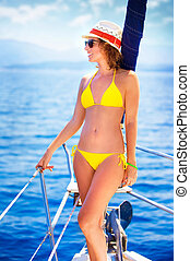 Summer vacation concept - Beautiful young woman with perfect...