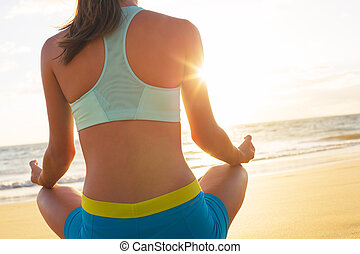 Yoga Woman - Woman relaxing practicing yoga meditation on...