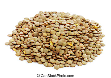 Lentils - Pile of lentils on bright background