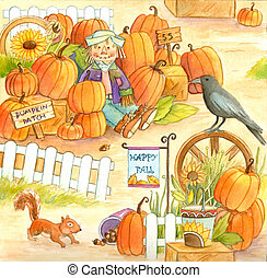 Pumpkin Patch - Watercolor illustration of a pumpkin patch