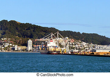 Cargo ship in CentrePort in Wellington NZ