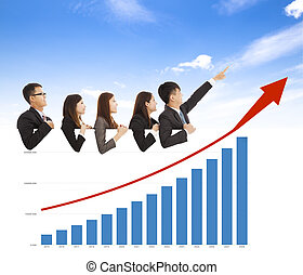 business people with a marketing situation bar chart