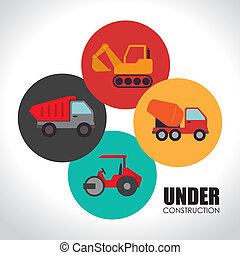 Construction design over white background, vector...