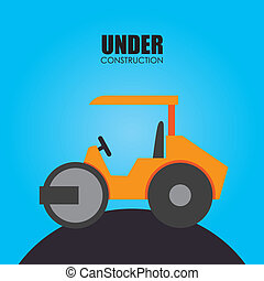 Construction design over blue background, vector...