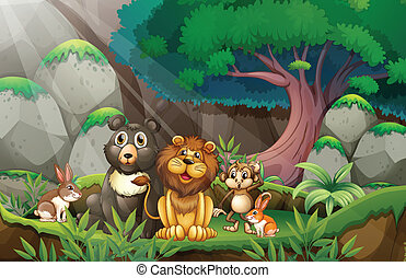 animals in jungle - Illustration of many animals in the...