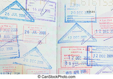 passport with thai and lao stamps