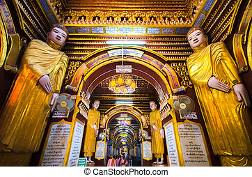 Ancient statues inside Pagoda Myanmar