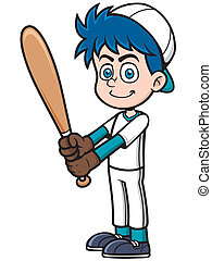 Baseball Player - Vector illustration of Cartoon Baseball...