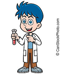 Scientist - Vector illustration of Little Scientist holding...