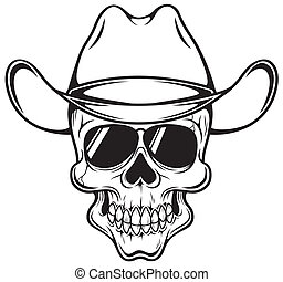 Cowboy skull - Vector illustration of Cowboy skull - Outline
