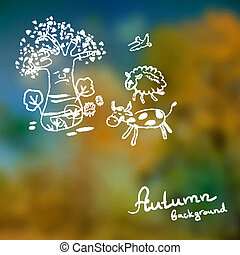 Defocused background of autumn leaves with the sketch of the...