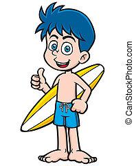 Boy Surfer - Vector illustration of Boy Surfer with...
