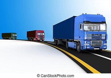 Trucks on freeway - Trucks on freeway. 3d render...