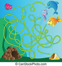 Puzzle for kids - marine life - Vector puzzle for kids - the...