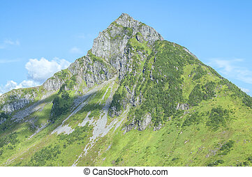Mountain peak - Rocky rugged Arrowhead Peak near Sitka,...