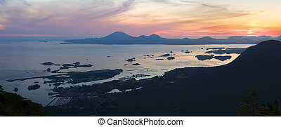 Sitka sunset from Mount Verstovia - Beautiful panoramic and...