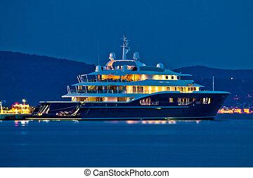 Luxury yacht blue evening view on mediterranean coas