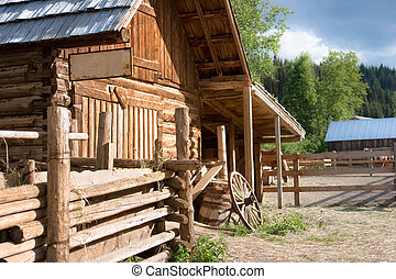 Heritage stables with corral on farm