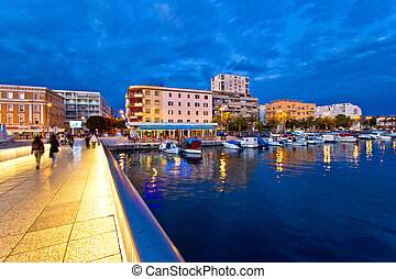 Blue hour Zadar waterfront view, Dalmatia, Croatia