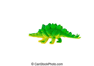 Stegosaurus dinosaur plastic toy isolated on white...