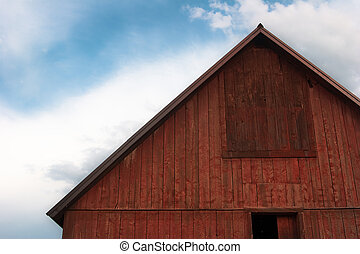 Bright red barn roof