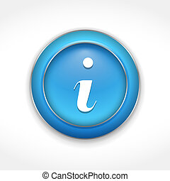 Information Button - Blue button with information symbol,...