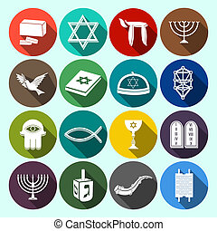 Judaism Icons Set Flat - Jewish church traditional religious...